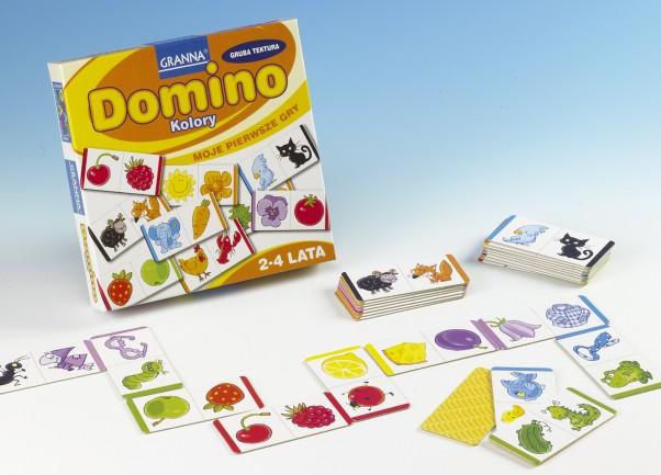 Domino Kolory uczy dzieci spostrzegawczości. Kto pierwszy ułoży swoje tafelki, wygrywa!