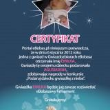 Certyfikat konkursu bożonarodzeniowego 2012