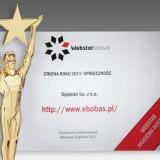 Akademia Internetu przyznała portalowi eBobas.pl statuetkę Webstar 2011 w kategorii - Społeczność.