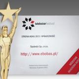 """Rok temu Akademia Internetu przyznała portalowi eBobas.pl statuetkę Webstara w kategorii """"Społeczność"""". W 2012 roku eBobas.pl startuje w kategorii """"Dom i Rodzina"""""""