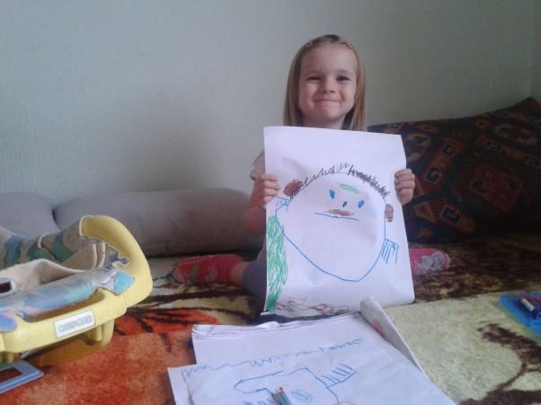 Zdjęcie zgłoszone na konkurs eBobas.pl Viktoria 4 lata    moj pierwszy rysunek tatus