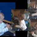 Dziewięcio miesięczna Lenka pomaga mamie w myciu naczyń