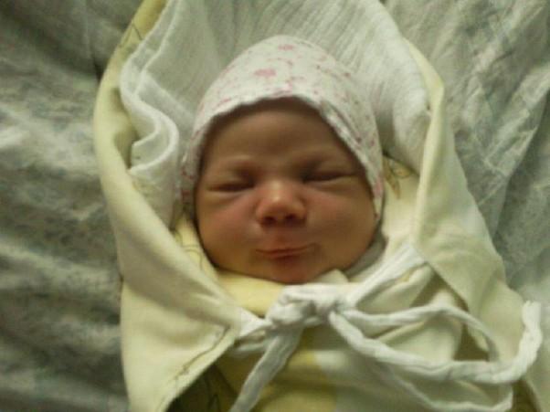 Tuż po narodzinach Lenka przyszła na świat z uśmiechem na ustach.