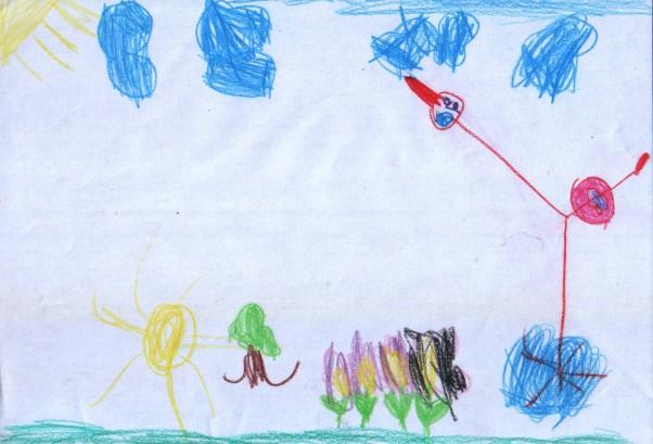 BOCIANEK Kasia namalowała bociana na łące:) \nBocianek z długą szyją niczym żyrafa;-), ale duży czerwony dziub mówi sam za siebie\nTo bocian na 100%:)... z głową w chmurach;-)